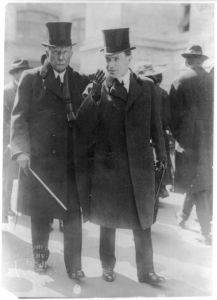 This 1915 photo shows John D. Rockefeller (76) and John D. Jr., (41), still going strong after Tarbell let the public know how powerful Standard Oil was, which led to the breakup of the company.